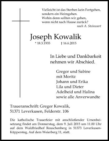 Zur Gedenkseite von Joseph
