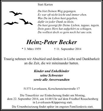 Zur Gedenkseite von Heinz-Peter