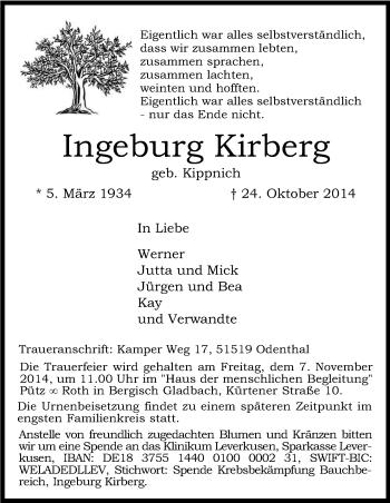 Zur Gedenkseite von Ingeburg