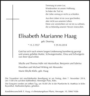 Zur Gedenkseite von Elisabeth Marianne