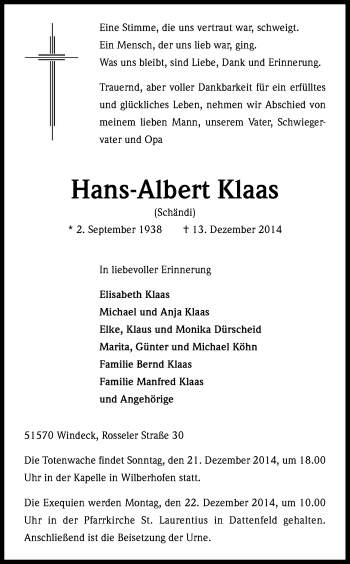 Zur Gedenkseite von Hans-Albert