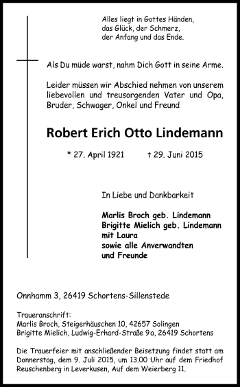 Zur Gedenkseite von Robert Erich Otto