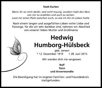 Zur Gedenkseite von Hedwig