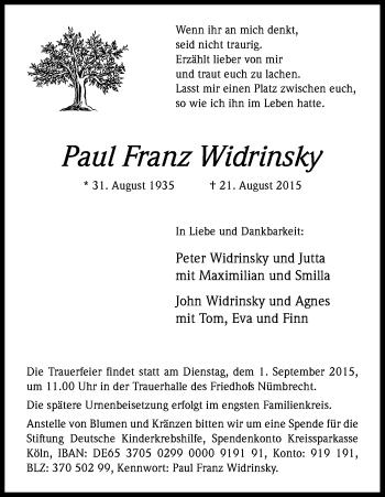Zur Gedenkseite von Paul Franz