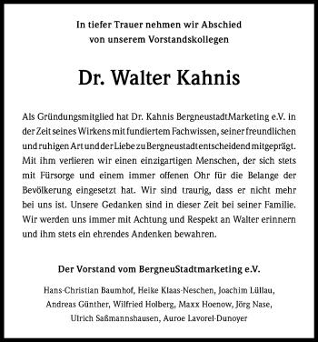 Traueranzeige für Walter Kahnis vom 24.08.2019 aus Zeitungsgruppe Köln
